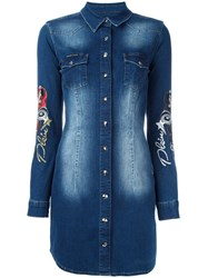 Philipp Plein Embroidered Denim Shirt Dress Blue