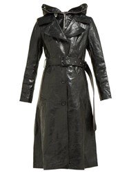 Vetements Masked Leather Trench Coat Black