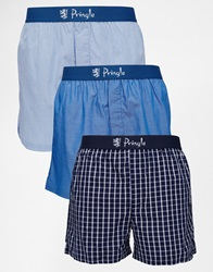 Pringle Woven Boxers In 3 Pack Blue