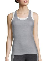 Heroine Sport Racing Tank Top Chalk Rib And White Mesh