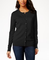Charter Club Long Sleeve Button Front Cardigan Black