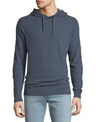 Faherty Slub Cotton Pullover Hoodie Navy Heather