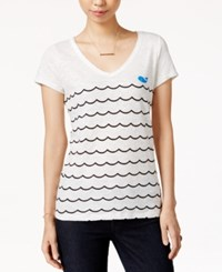 Maison Jules Wave Print Graphic T Shirt Only At Macy's Egret Combo