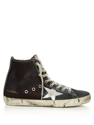 Golden Goose Francy High Top Denim Trainers Navy