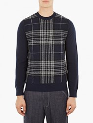 Comme Des Garcons Navy Plaid Wool Sweater