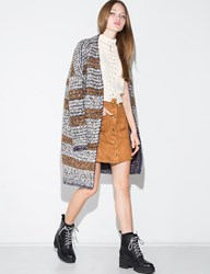 Pixie Market Grey And Brown Chunky Knit Long Cardigan