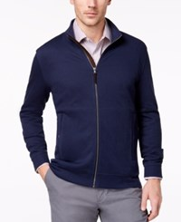 Tasso Elba Men's Supima Cotton Full Zip Cardigan Created For Macy's Navy Blue