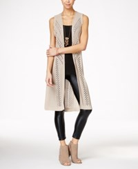 It's Our Time Juniors' Crocheted Open Front Maxi Vest Wickerwork