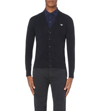 Armani Jeans Slim Fit Knitted Cardigan Blue