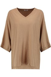 Brunello Cucinelli Glittered Cashmere Blend Top Camel