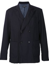 Engineered Garments Double Breasted Technical Blazer Blue