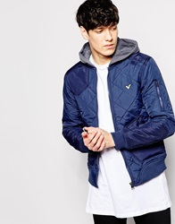 Voi Jeans Hooded Quilted Jacket Navy