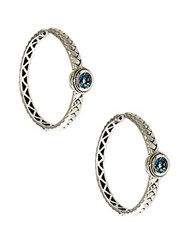 Effy Balissima Blue Topaz Accented Hoops In Sterling Silver With 18 Kt. Yellow Gold