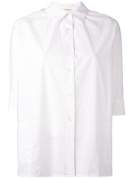 Bellerose Cropped Sleeve Loose Fit Shirt Women Cotton 1 White