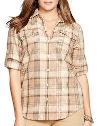 Lauren Ralph Lauren Plus Plaid Cotton Button Front Shirt Brown