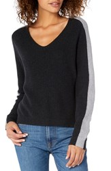 Michael Stars Colorblock Knit Sweater Charcoal Heather