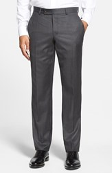 Men's Ted Baker London 'Jefferson' Flat Front Wool Trousers Mid Grey