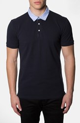 Men's 7 Diamonds 'Center Stage' Trim Fit Contrast Trim Pique Polo Navy