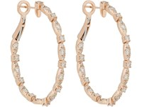 Zoe White Diamond And Rose Gold Oval Hoops No Color