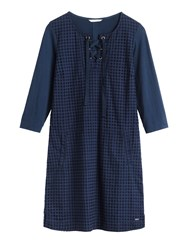 Sandwich 34 Sleeves Broderie Anglaise Dress Blue