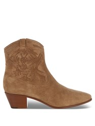Saint Laurent Rock Suede Western Ankle Boots Light Tan
