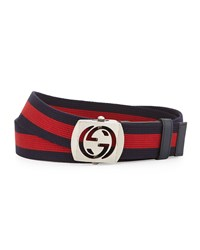 Gucci Canvas Belt With Cutout Buckle Size 40In 100Cm Blue Red