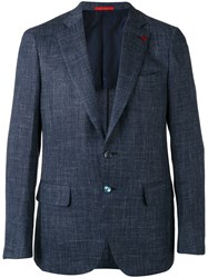 Isaia Two Button Blazer Men Silk Linen Flax Cupro Wool 52 Blue