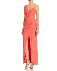 Nicole Miller Pleated Crossover Gown Rose