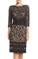 Tadashi Shoji Women's Pleat Waist Lace Blouson Dress Black Nude