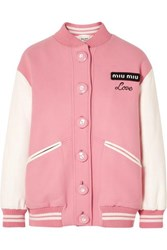 Miu Miu Oversized Two Tone Leather And Wool Bomber Jacket Pink