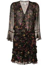 Veronica Beard Floral Print Wrap Dress Black
