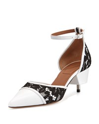 Givenchy Ranelle Lace And Leather Screw Heel Pump White Black Women's
