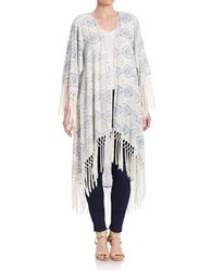 Design Lab Lord And Taylor Open Front Tie Dye Poncho Cardigan White