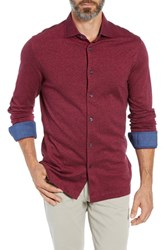 Bugatchi Regular Fit Contrast Cuff Sport Shirt Berry