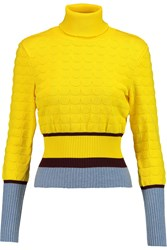 Mary Katrantzou Textured Knit Turtleneck Sweater Yellow