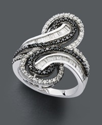 Wrapped In Love Diamond Ring Sterling Silver Black Diamond And White Diamond Swirl 1 Ct. T.W.