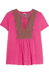 M Missoni Crocheted Cotton And Linen Top Pink