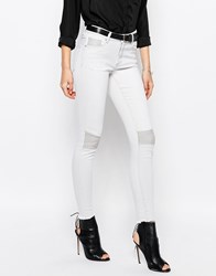 Vila Skinny Biker Jeans Light Grey Denim Brown
