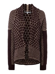 La Fee Maraboutee Coarse Knit Two Colour Cardigan Red