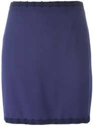 Romeo Gigli Vintage Embroidered Trim Skirt Blue