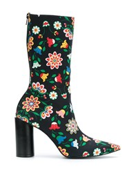 Reinaldo Lourenco Flower Print Boots Women Cotton 35 Black