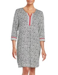 Ellen Tracy Print Jersey Knit Sleepgown Grey