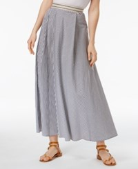 Max Mara Weekend Aulla Cotton Striped A Line Maxi Skirt Black