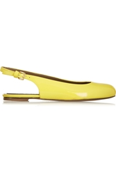 Marni Patent Leather Slingback Ballet Flats Yellow