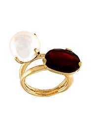 Wouters And Hendrix 'My Favourite' Red Agate And Pearl Ring Metallic