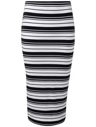 Pure Collection Mia Jersey Tube Skirt Navy White