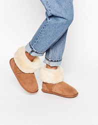 Just Sheepskin Roll Over Slipper Boots Chesnut Brown