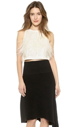 Tibi Feather Tuxedo Crop Top Ivory