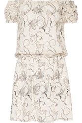 Alice Olivia Janell Off The Shoulder Embroidered Silk Georgette Mini Dress Cream
