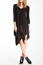 Gracia 3 4 Length Sleeve Handkerchief Hem Dress Black
